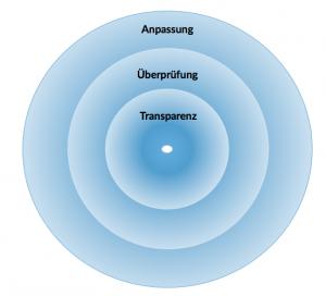 Grafik: Drei blaue Kreise mit der Aufschrift Anpassung, Überprüfung, Transparenz