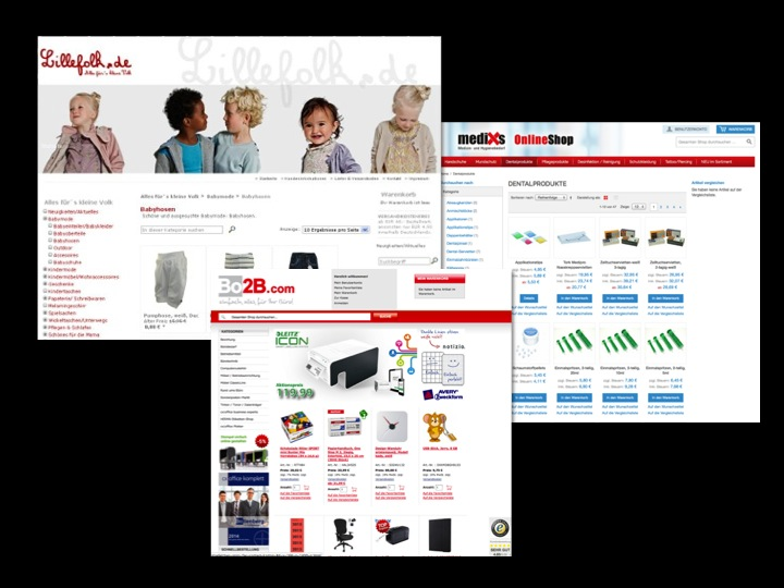 Screenshots von drei E-Commerce-Shops