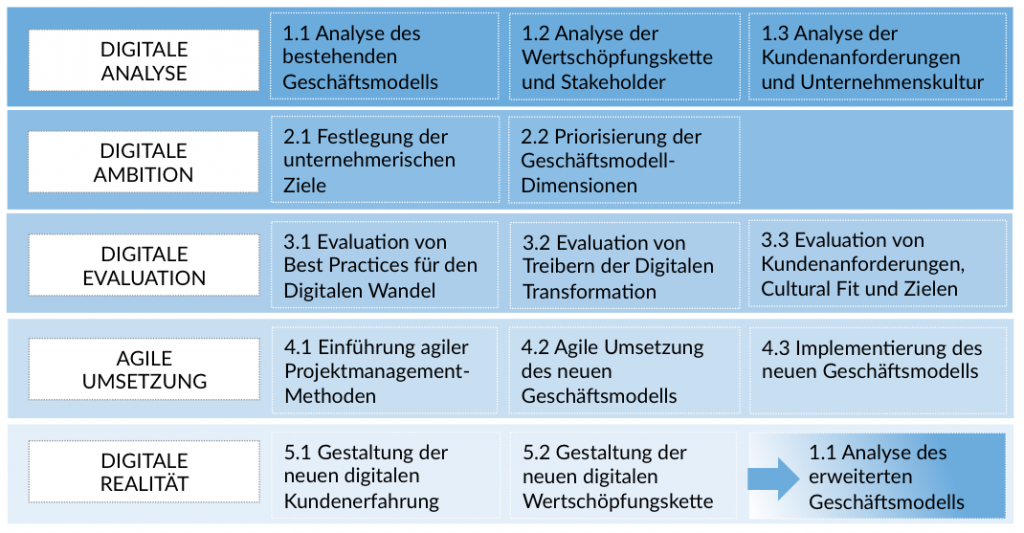 Grafik: 5 Phasen der Digitalen Transformation - von der Analyse bis zur Umsetzung