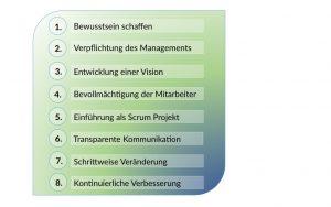 Grafik mit 8 Punkten zur Einführung von Scrum Projektmanagement