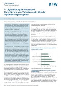 Digitalisierung im Mittelstand: Studie der KfW Research von März 2018